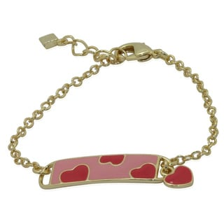 Junior Jewels 18k Gold Overlay Children's Enamel Heart ID Bracelet