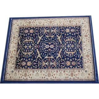Herat Oriental Indo Hand-knotted Navy/ Beige Vegetable Dye Wool Rug (12' x 14'11)
