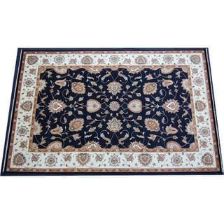 Herat Oriental Indo Hand-knotted Navy/ Beige Vegetable Dye Wool Rug (12' x 18'2)