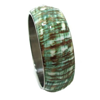 Handmade Green Luxuriant Natural Abalone Shell Bracelet (Thailand)