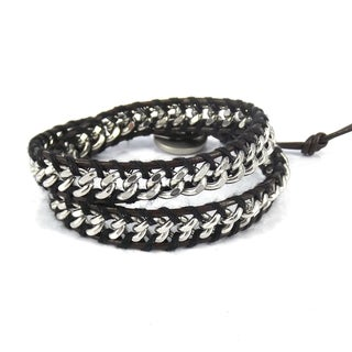 Silver Cable Links Genuine Leather Double Wrap Bracelet (Thailand)