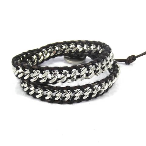 Handmade Silver Cable Links Genuine Leather Double Wrap Bracelet (Thailand)