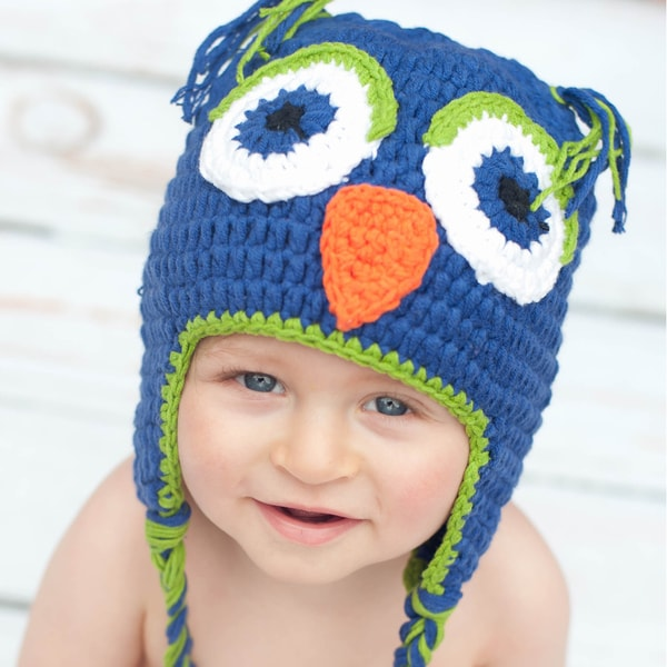 Handmade Boy's Navy Owl Knit Hat