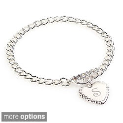 Silver Overlay Personalized Heart Charm Toggle Bracelet