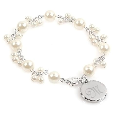 Personalized Silver Overlay FW Pearl Romance Bracelet (8 mm)