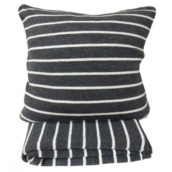 Daniel Grey Striped Throw or 20-inch Throw Pillow. Opens flyout.