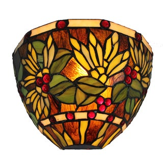 Amora Lighting Tiffany Style 1-light Floral Wall Lamp