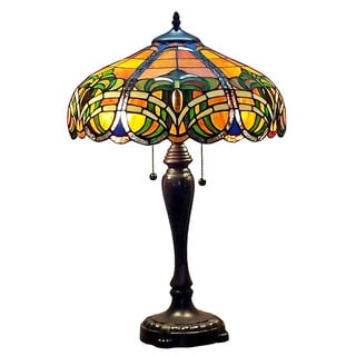 Amora Lighting Tiffany Style 2-light 25-inch Baroque Table Lamp