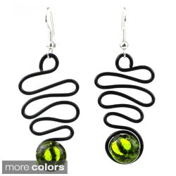 Handmade Enamel Wire and Glass Lombard Earrings (Chile)