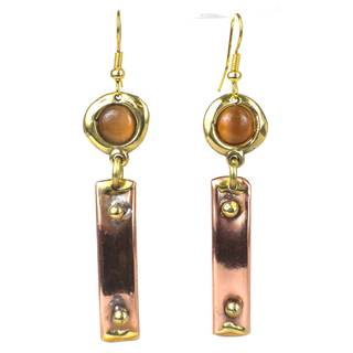 Handmade Riveting Copper and Tiger Eye Brass Earrings (South Africa)