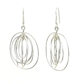 Handmade Large Silverplated 7 Ovals Earrings (Mexico)