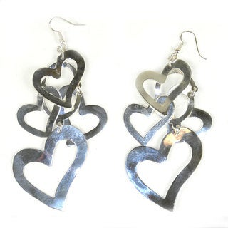 Handcrafted Large Silverplated Hearts Earrings (Mexico)