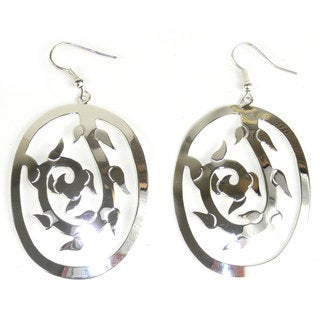 Handmade Large Silverplated Vine Earrings (Mexico) - Silver
