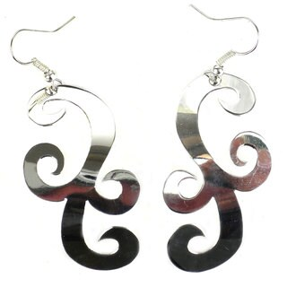 Handmade Large Silverplated Scroll Earrings (Mexico) - Silver