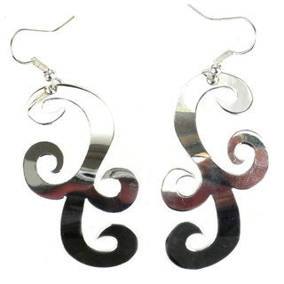 Link to Handmade Large Silverplated Scroll Earrings (Mexico) - Silver Similar Items in Earrings