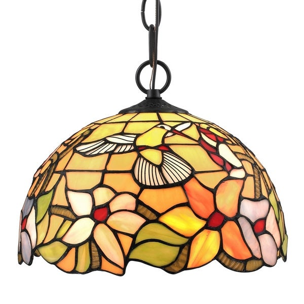 Amora Lighting Tiffany Style Hummingbird 1 Light Pendant Lamp