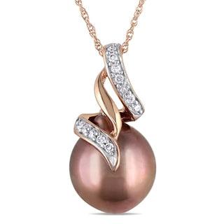 Miadora 10k Rose Gold 1/10ct Diamond Tahitian Pearl Necklace (9.5-10 mm) - Brown