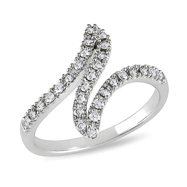 Miadora 10k White Gold 1/3ct TDW Twist Diamond Ring