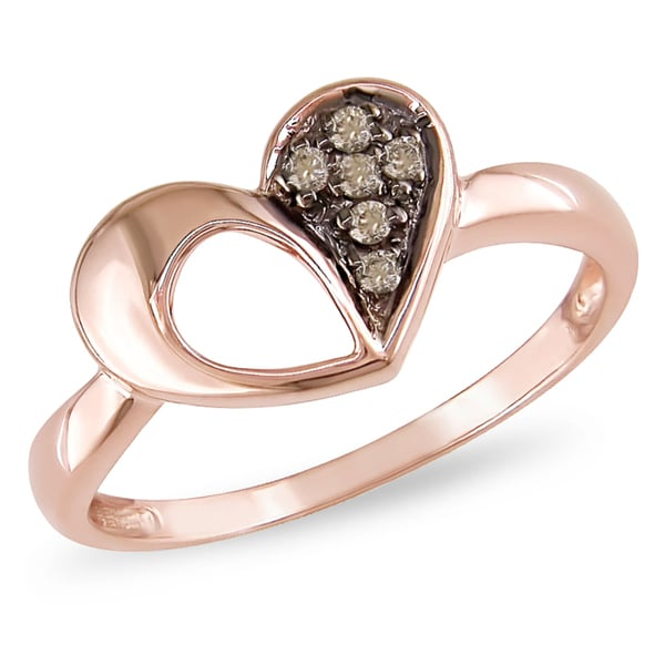 Miadora 10k Rose Gold Brown Diamond Heart Ring