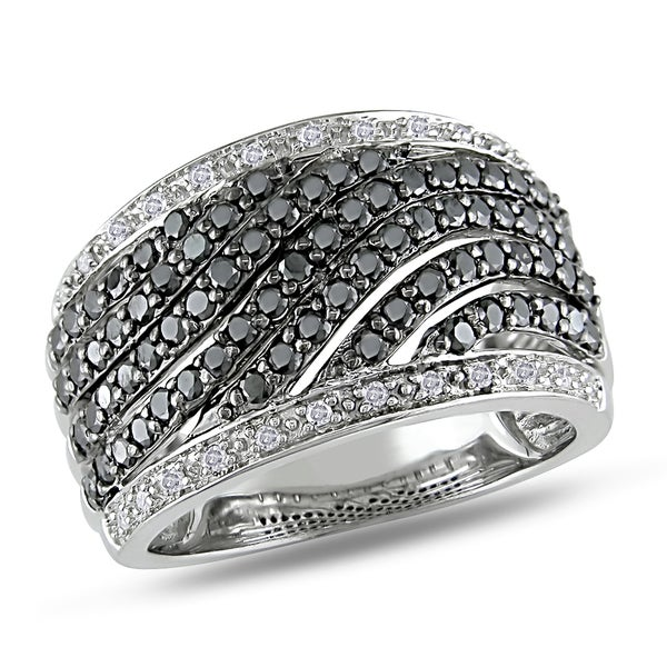 Miadora Sterling Silver 1ct TDW Black and White Diamond Wide Band Ring