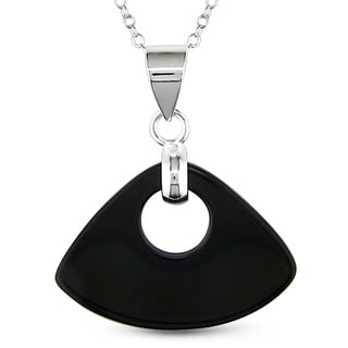 Miadora Sterling Silver Onyx Pendant Necklace