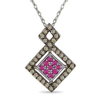 Miadora 10k White Gold 1/4ct TDW Brown Diamond Pink Sapphire Necklace
