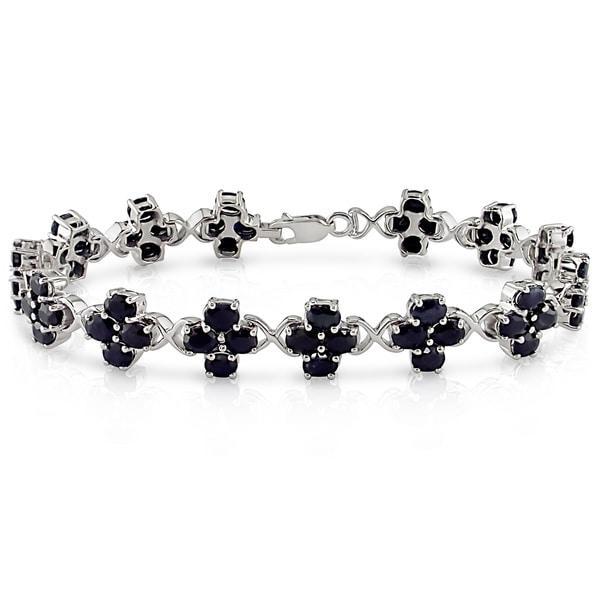 Miadora Sterling Silver 14ct TGW Black Sapphire Flower Bracelet