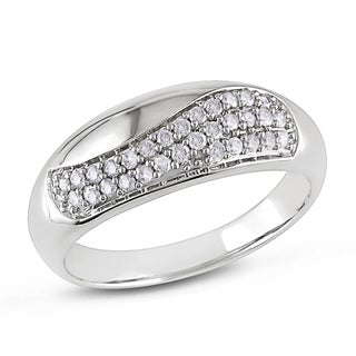 Miadora 10k White Gold 1/4ct TDW Diamond High Polish Fashion Ring (H-I, I2-I3)
