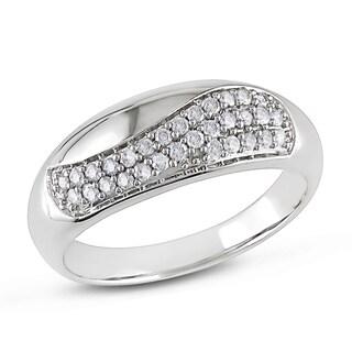 Miadora 10k White Gold 1/4ct TDW Diamond High Polish Fashion Ring
