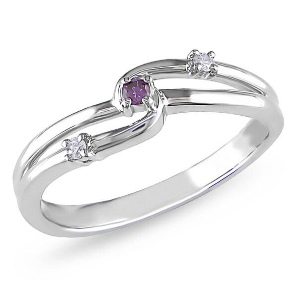 Miadora 10k White Gold Pink and White Diamond Ring