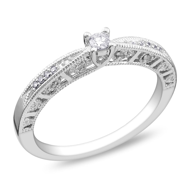Miadora 14k White Gold 1/10ct TDW Diamond Promise Ring (G-H, I1-I2)