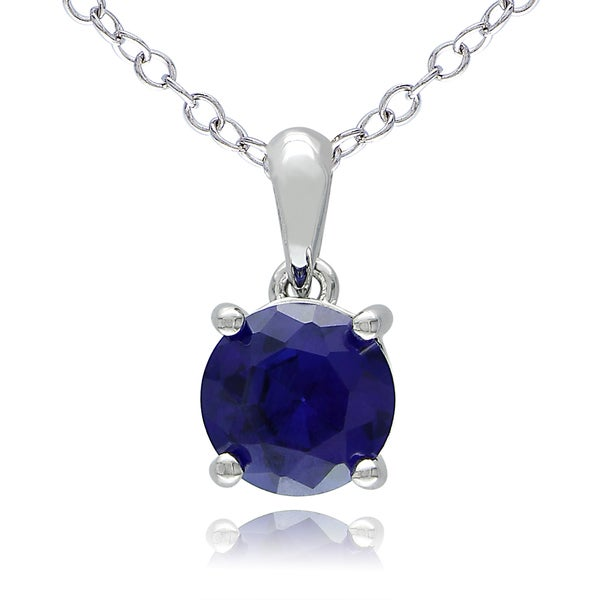 Miadora Sterling Silver Created Blue Sapphire Solitaire Necklace
