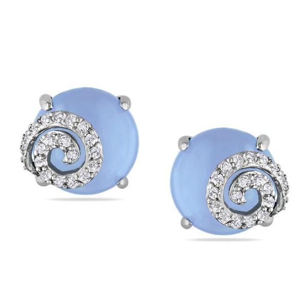 Miadora Silver Blue Chalcedony 1/5ct TDW Diamond Earrings (H-I, I2-I3)