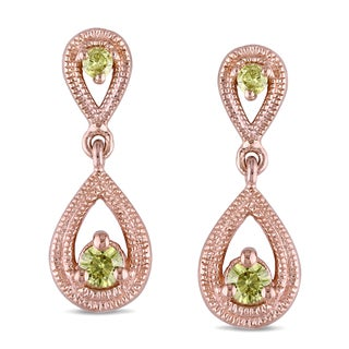 Miadora Rose Plated Silver 1/4ct TDW Yellow Diamond Earrings
