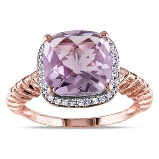 Miadora 10k Pink Gold Rose de France 1/6ct TDW Diamond Ring (G-H, I1-I2)