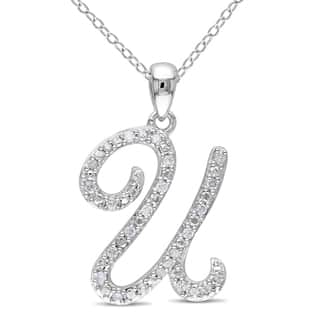 Initial diamond necklaces for less overstock miadora sterling silver 16ct tdw diamond initial necklace aloadofball Gallery