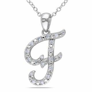 Miadora Sterling Silver 1/6ct TDW Diamond 'F' Necklace
