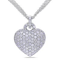 Miadora Sterling Silver Created White Sapphire Heart Necklace