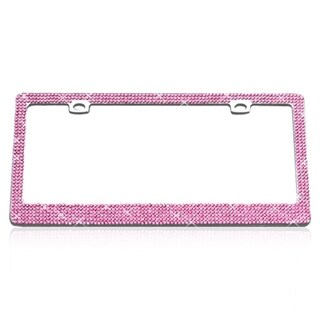 INSTEN Shining Six Row Pink Crystals Chrome Metal License Plate Frame