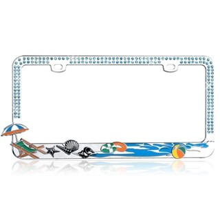 INSTEN Sandy Beach with Blue Water Crystals Metal License Plate Frame