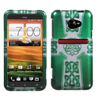 INSTEN White Celtic Cross Ring 2D Silver Phone Case Cover for HTC Evo 4G LTE