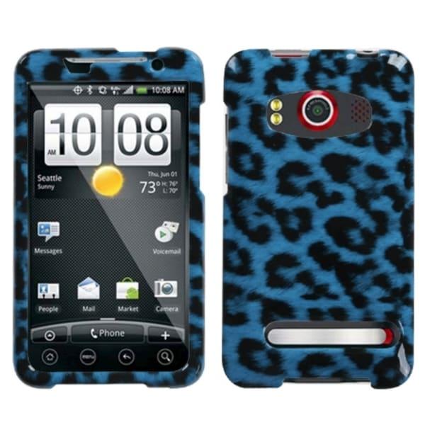INSTEN Leopard Skin Cyan Phone Case Cover for HTC Evo 4G