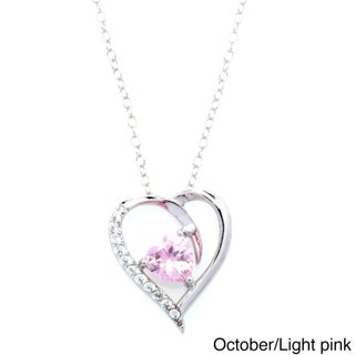 Fremada Rhodium Plated Silver Cubic Zirconia Heart Birthstone Necklace (Option: Light Pink - N/A - Sterling Silver - Pink - October)