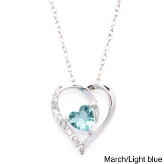 Fremada Rhodium Plated Silver Cubic Zirconia Heart Birthstone Necklace (More options available)