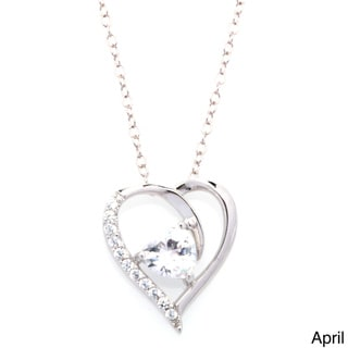 Fremada Rhodium Plated Silver Cubic Zirconia Heart Birthstone Necklace