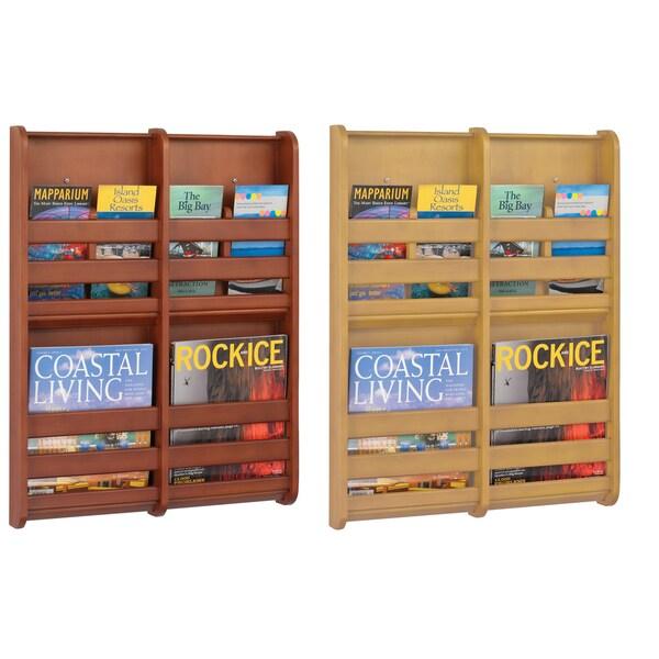 Safco 4 Pocket Bamboo Magazine Wall Rack