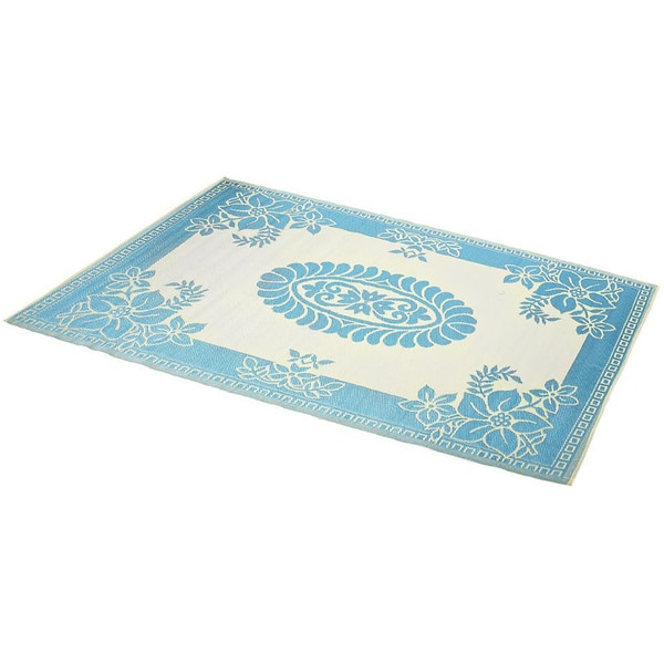 India Hand-Stitched Turquoise/White Indoor/Outdoor Flatweave Rug (4' x 6')