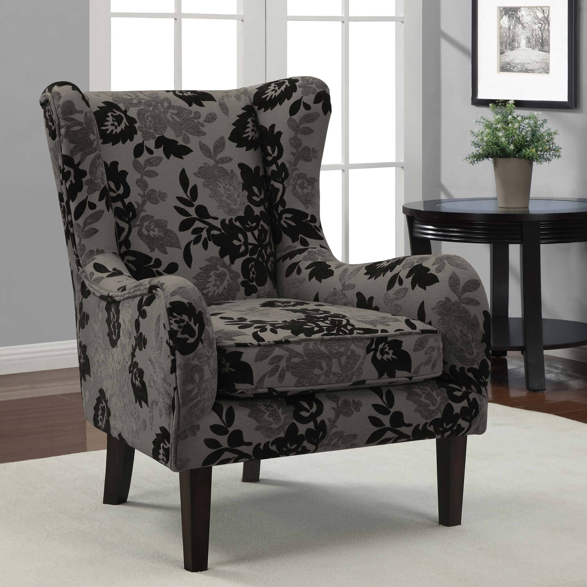 Floral Grey/ Black Curved Wing Chair