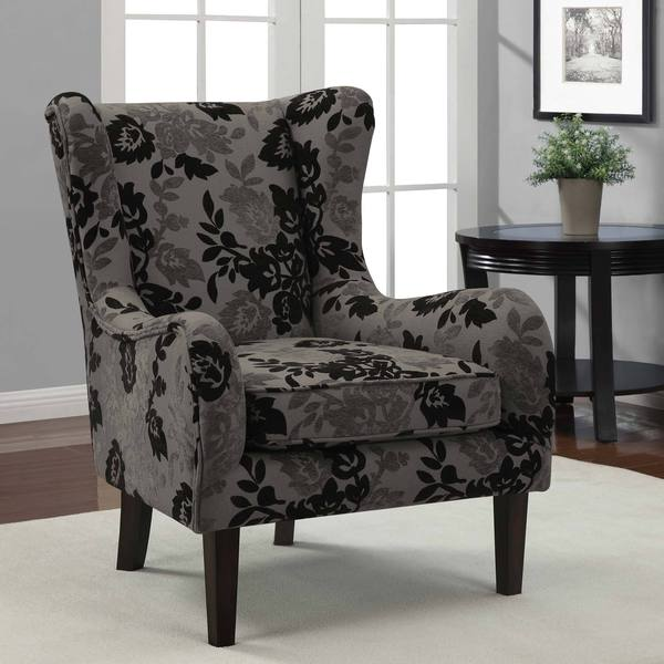 Shop Floral Grey Black Curved Wing Chair Free Shipping