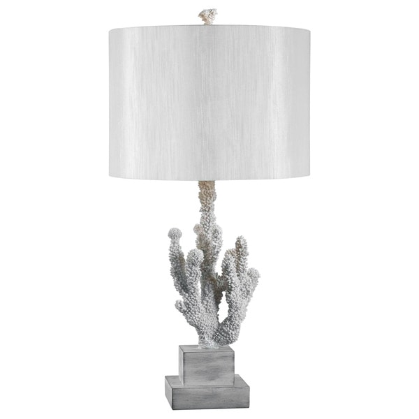 Design Craft White Resin Coral Reef 28-inch Table Lamp